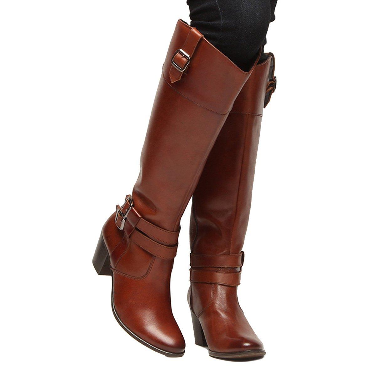 8e9716129ec Bota Couro Montaria Shoestock Fivelas Feminina - Marrom - Compre ...