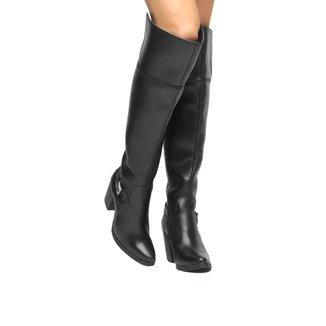 Bota Couro Over the Knee Shoestock Fivela Feminina
