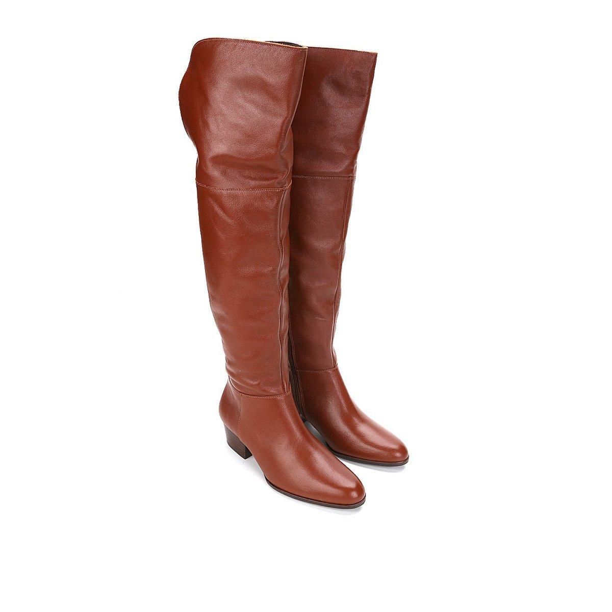 0b83a813a Bota Couro Over the Knee Shoestock Zíper Feminina - Caramelo | Shoestock