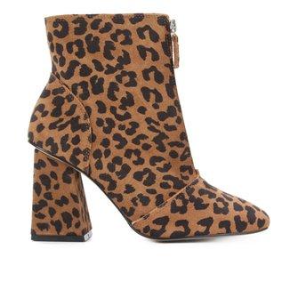 Bota Couro Shoestock Camurça Onça Salto Alto Feminina