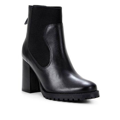 Bota Couro Shoestock Cano Curto Elástico Feminina