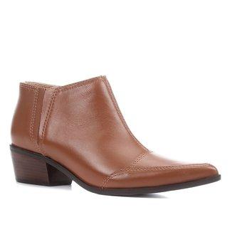 Bota Couro Shoestock Cano Curto Feminina