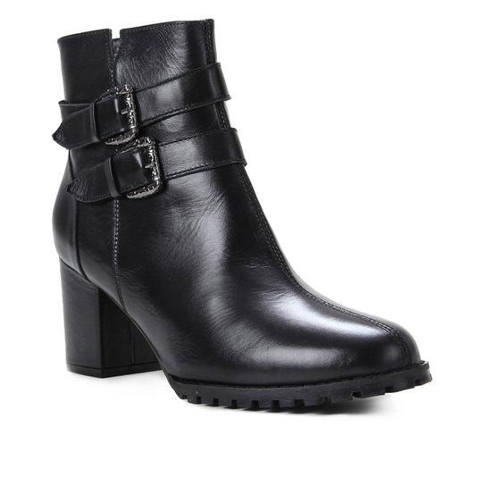 Bota Couro Shoestock Cano Curto Fivelas Feminina - Preto