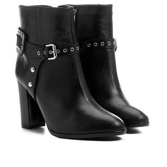 Bota Couro Shoestock Cano Curto Salto Alto Detalhe Selaria Feminina