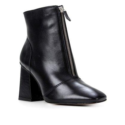 Bota Couro Shoestock Cano Curto Zíper Feminina