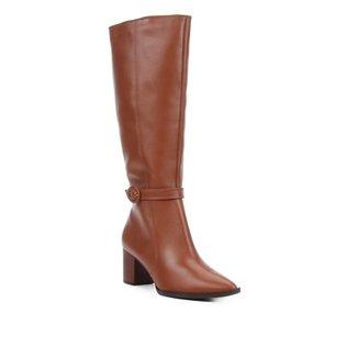 Bota Couro Shoestock Cano Longo Fivela Feminina