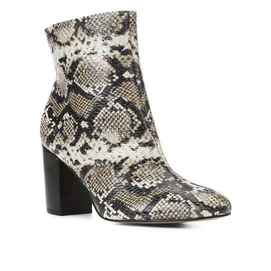 Bota Couro Shoestock Cobra Cano Curto Feminina - Off White+Preto