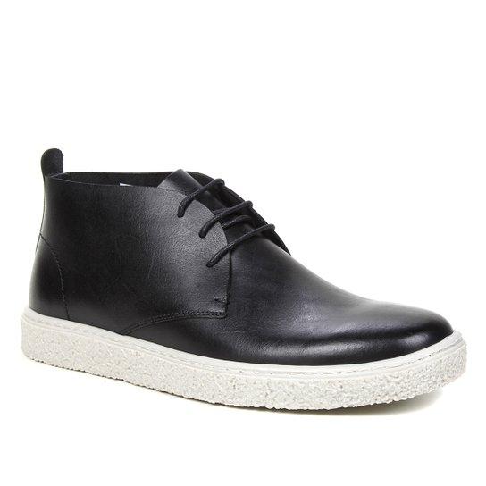 Bota Couro Shoestock Comfy Cano Curto Feminina - Preto