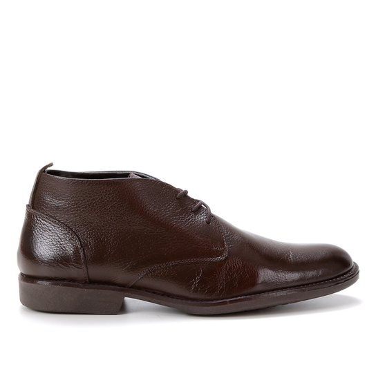 Bota Couro Shoestock Confort Cano Curto Masculina - Café