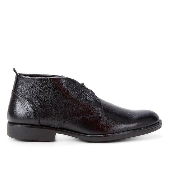 Bota Couro Shoestock Confort Cano Curto Masculina - Preto