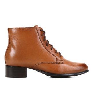 Bota Couro Shoestock Coturno Basic Feminina