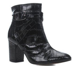 Bota Couro Shoestock Croco Cano Curto Feminina