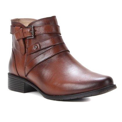 Bota Couro Shoestock Flat Fivelas Feminina