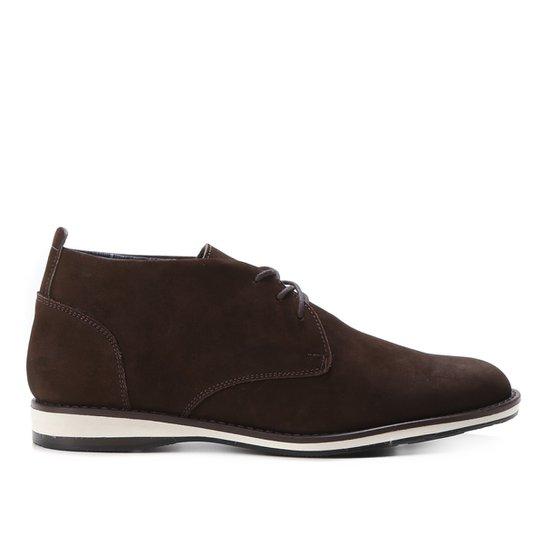 Bota Couro Shoestock Nobuck Cadarço Masculina - Café