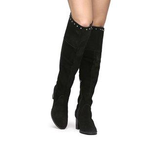 Bota Couro Shoestock Over the Knee Vira Cravos Feminina