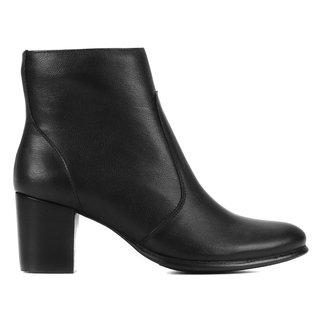 Bota Couro Shoestock Salto Bloco Feminina