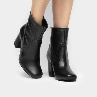 Bota Couro Shoestock Shape Quadrado Feminina