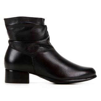 Bota Couro Shoestock Slouch Basic Feminina