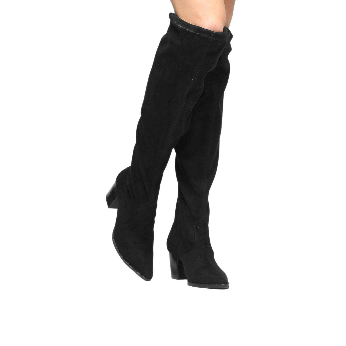 2ed8251eb Bota Meia Cano Longo Shoestock Bico Fino Salto Grosso Feminina - Preto -  Compre Agora