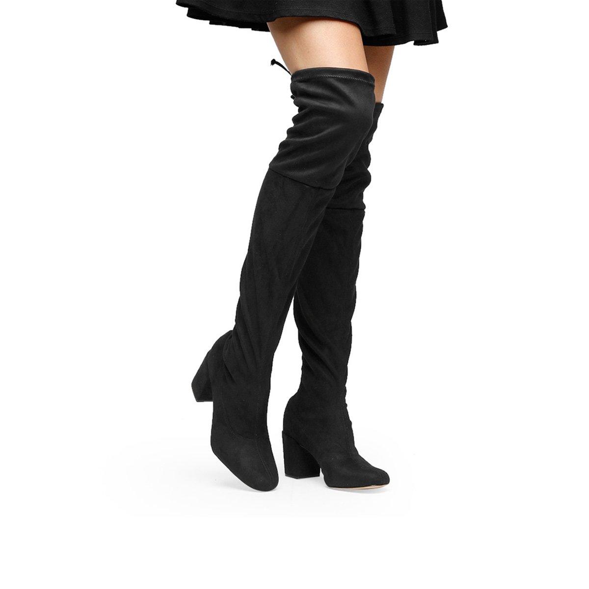 ebc5d99b96 Bota Meia Over The Knee Shoestock Salto Grosso Feminina