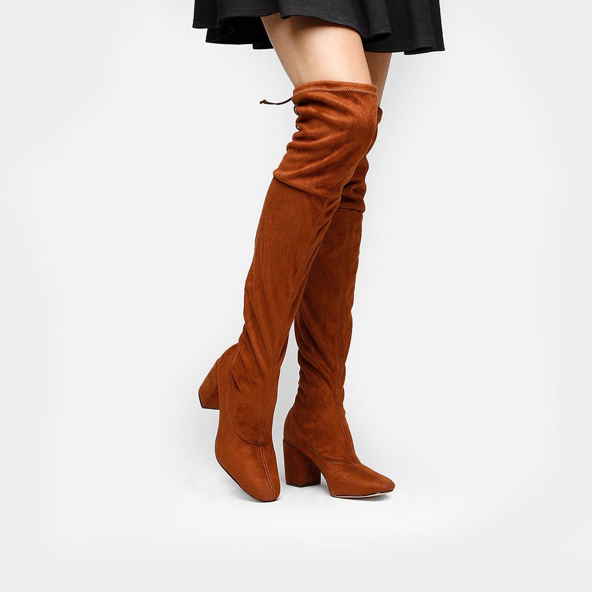 85151a5fb0a Bota Meia Over The Knee Shoestock Salto Grosso Feminina - Caramelo - Compre  Agora
