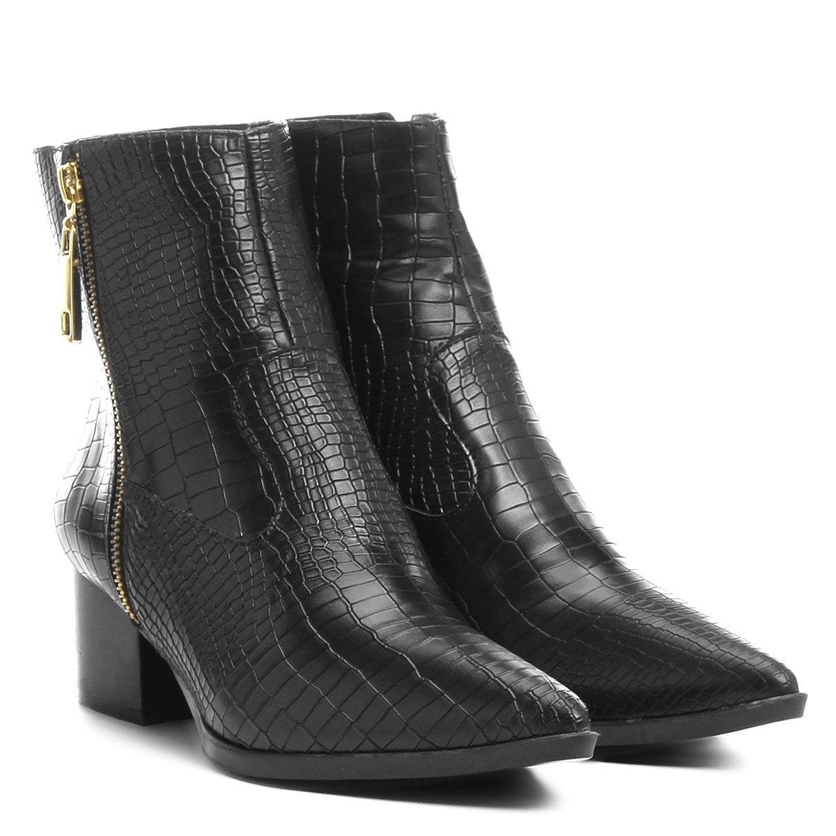 bd786d58aa6 Bota Shoestock Cano Curto Bico Fino Croco - Compre Agora
