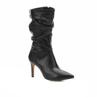 Bota Slouch Shoestock Couro Salto Alto Feminina