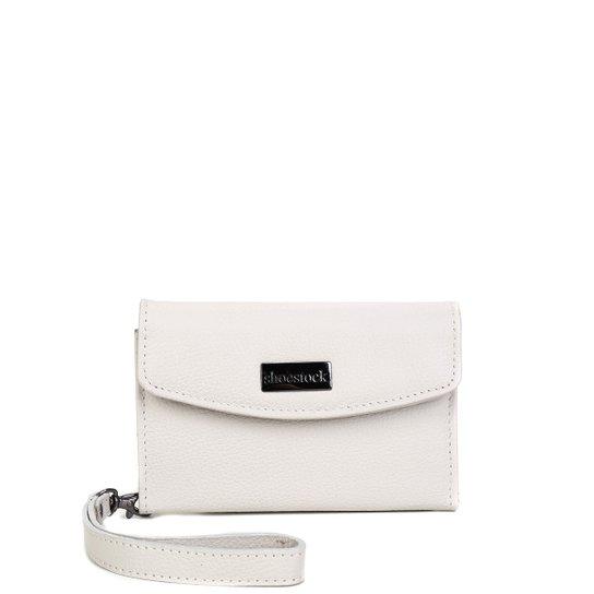 Carteira Couro Shoestock Alça Removível Feminina - Off White