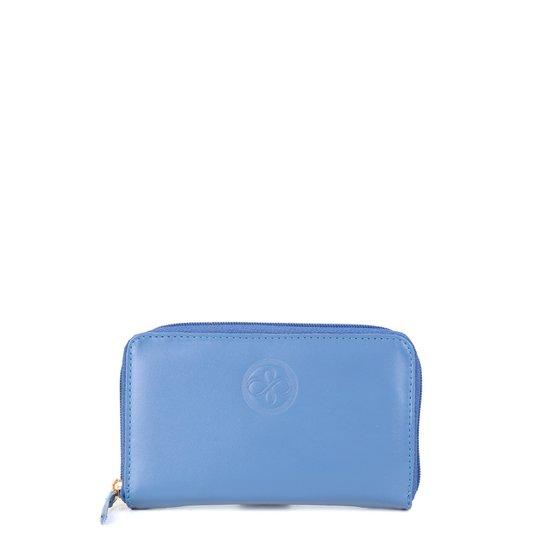 Carteira Couro Shoestock Zíper Média Feminina - Azul