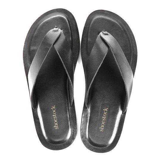 Chinelo Couro Shoestock Básico Masculino - Preto