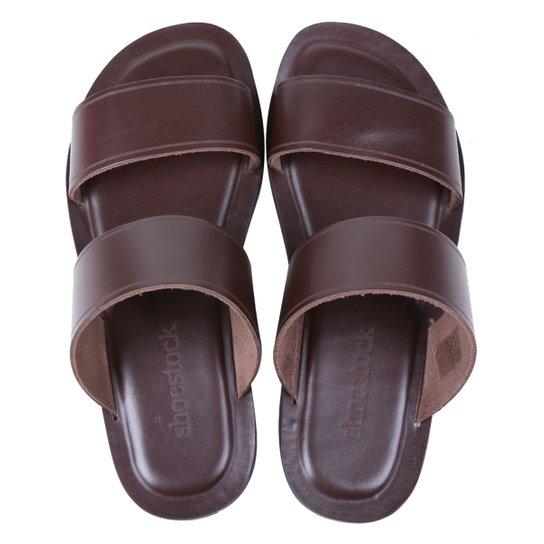 Chinelo Couro Shoestock Comfy Tiras Masculino - Café
