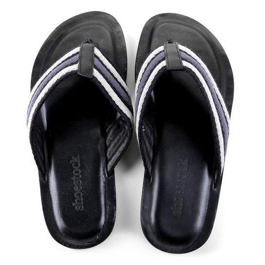 Chinelo Couro Shoestock Gorgurão Masculino - Preto