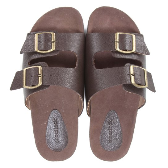 Chinelo Couro Shoestock Slide Fivela Masculino - Café