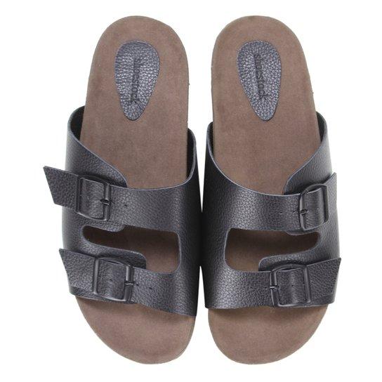 Chinelo Couro Shoestock Slide Fivela Masculino - Preto