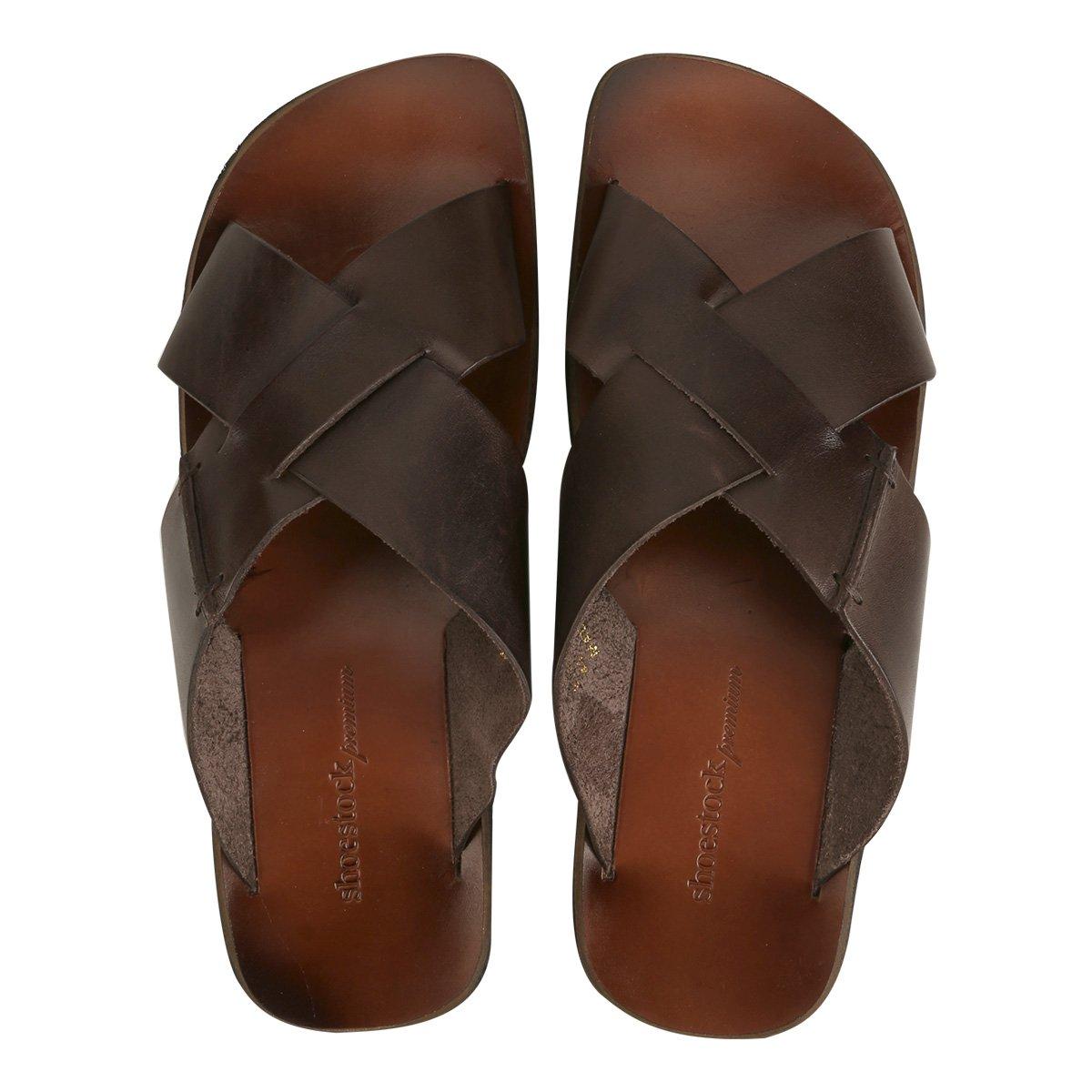 4935999602600 Chinelo Couro Shoestock Tiras Cruzadas Masculino | Shoestock