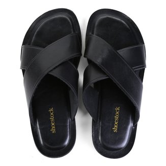 Chinelo Couro Shoestock Tiras Cruzadas Masculino