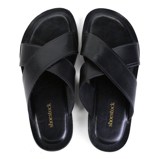 Chinelo Couro Shoestock Tiras Cruzadas Masculino - Preto