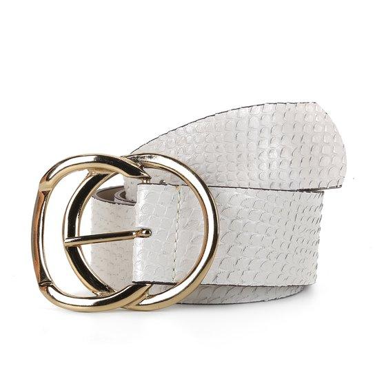 Cinto Couro Shoestock Cobra Fivela Dupla Feminino - Off White