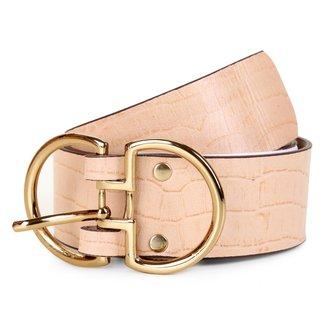 Cinto Couro Shoestock Croco Fivela Dupla Feminino