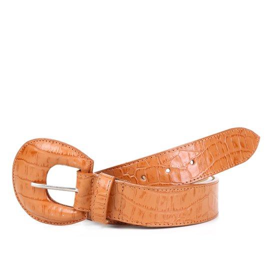 Cinto Couro Shoestock Croco Fivela Redonda Feminino - Caramelo