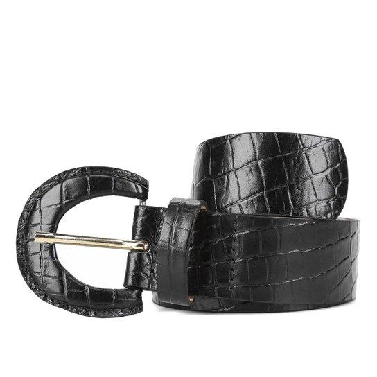 Cinto Couro Shoestock Fivela Forrada Feminina - Preto