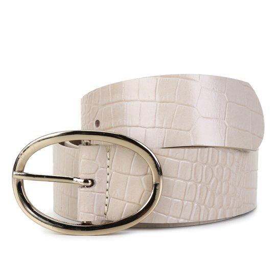 Cinto Couro Shoestock Fivela Oval Feminino - Bege