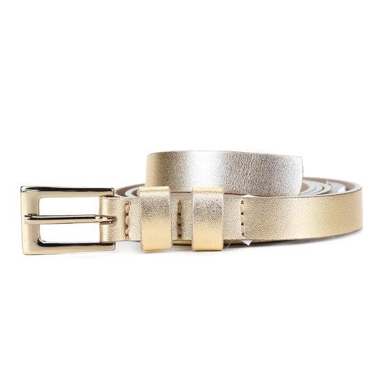 Cinto Couro Shoestock Metalizado Feminino - Dourado