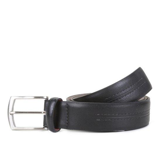Cinto Couro Shoestock Pesponto Masculino - Preto