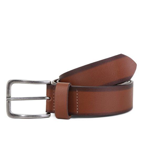 Cinto Couro Shoestock Soleta Stoned Masculino - Caramelo