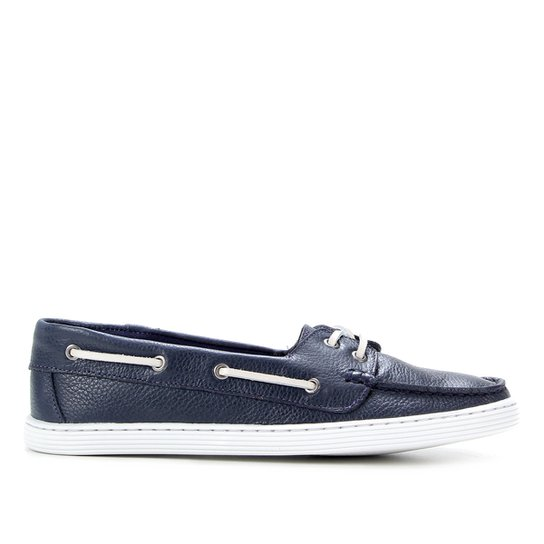 Dockside Couro Shoestock Liso Feminino - Marinho