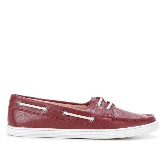 Dockside Couro Shoestock Liso Feminino - Vinho