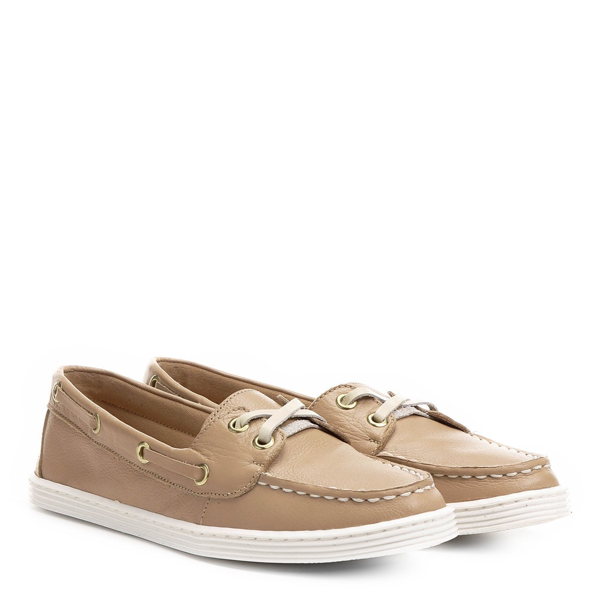 8d4a088d11 Dockside Couro Shoestock Solado Branco Feminino