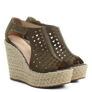 Espadrille Couro Shoestock Anabela Laser Feminina