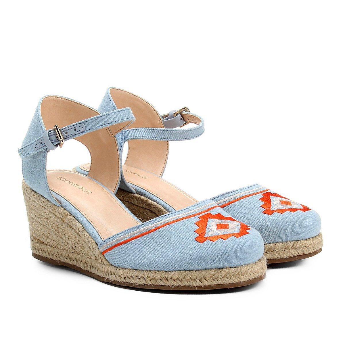 2214f35f7c Espadrille Shoestock Anabela Bordada Feminina - Azul - Compre Agora ...